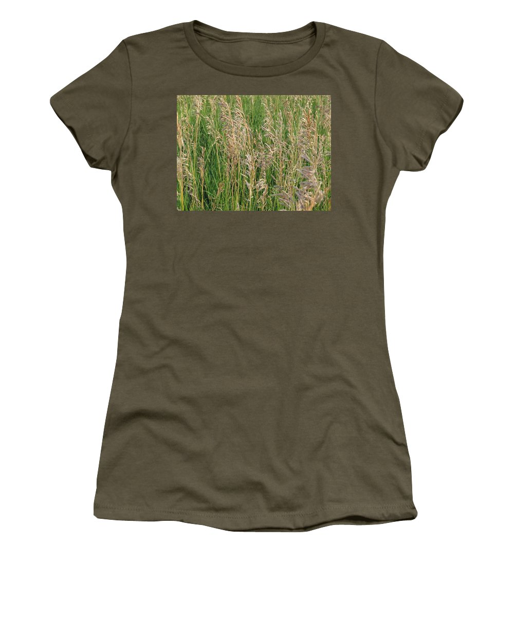 Wheat Women's T-Shirt featuring the photograph Wheat In The Wind by Aaron Martens