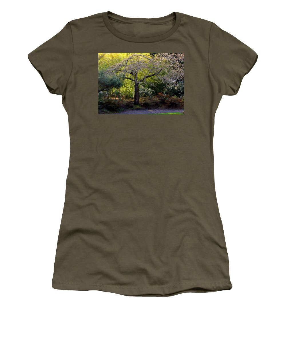 Japanese Garden Women's T-Shirt (Athletic Fit) featuring the photograph Where Peace Abides by Jeanette C Landstrom