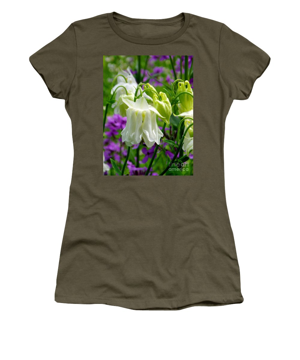 Women's T-Shirt featuring the photograph White Columbine Lanterns Verticle by Renee Croushore