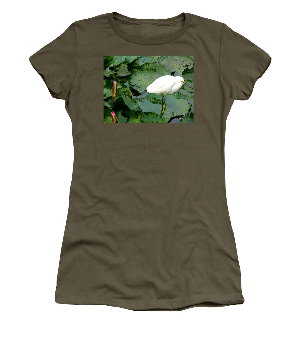 Tropical Plants Women's T-Shirt featuring the photograph White Egret On Lilypads by Alanna DPhoto