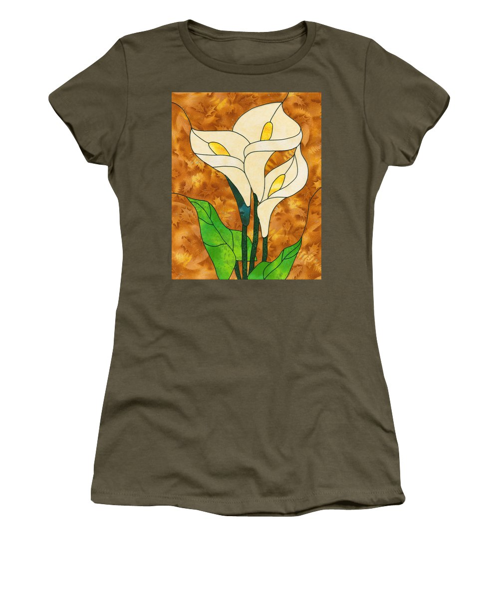 Lillies Women's T-Shirt featuring the mixed media White Life by Sue Brehm