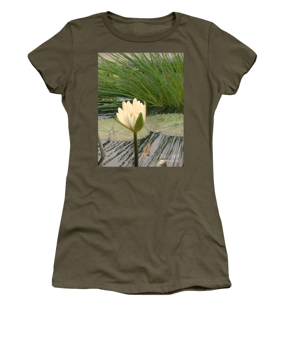 Water Lilies Women's T-Shirt (Athletic Fit) featuring the photograph White Lily Near Pond Grass by Eric Schiabor
