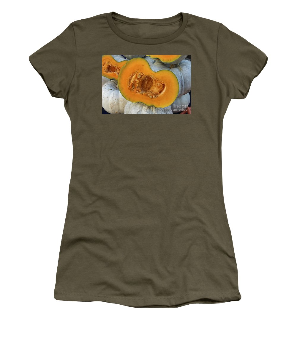 Fruit And Vegetable Market Safranbolu Turkey Food Foods Fruits Markets Melon Melons Women's T-Shirt featuring the photograph White Variety by Bob Phillips