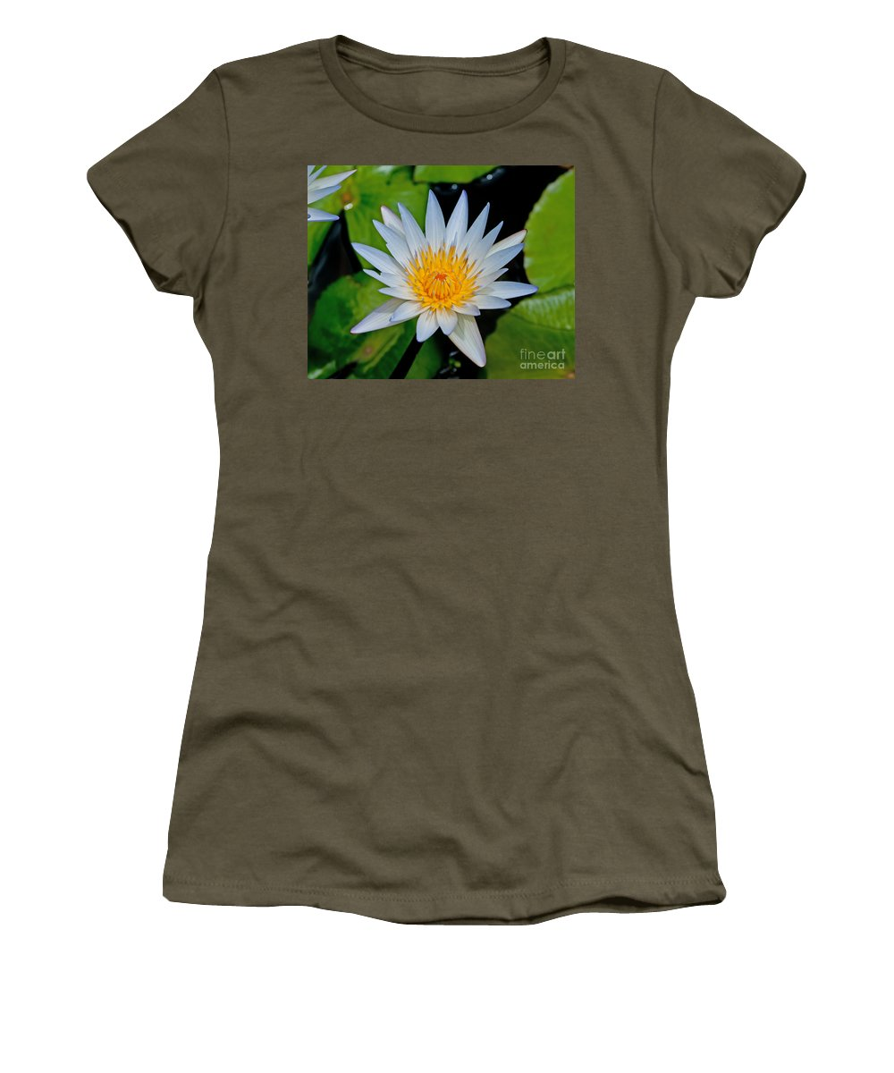 White Women's T-Shirt featuring the photograph White Water Lily by Stephen Whalen
