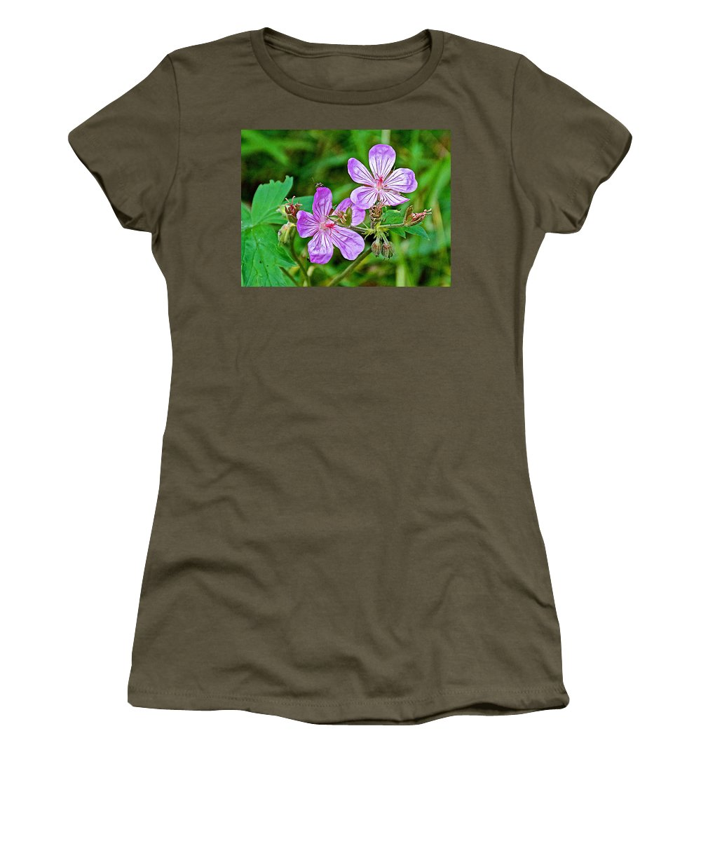Wild Geranium On Trail To Swan Lake In Grand Teton National Park Women's T-Shirt featuring the photograph Wild Geranium On Trail To Swan Lake In Grand Teton National Park-wyoming by Ruth Hager