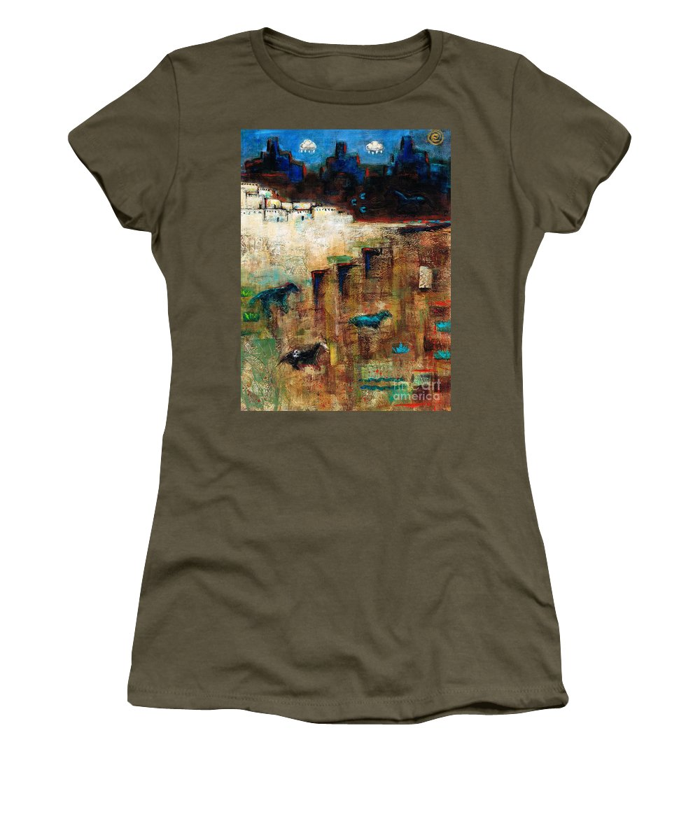 Southwest Art Women's T-Shirt featuring the painting Wild Horse Canyon by Frances Marino