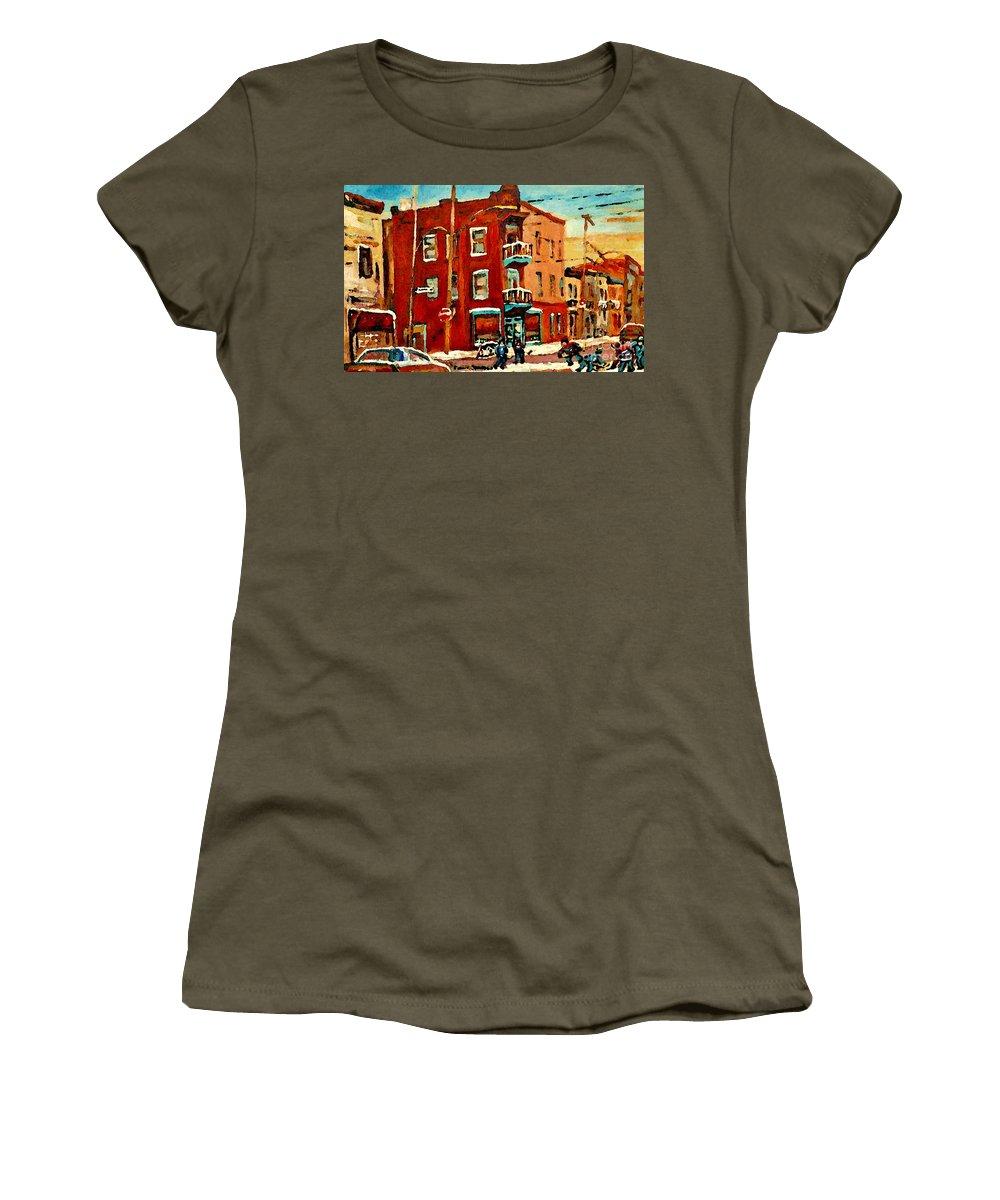 Wilenskys Deli Women's T-Shirt featuring the painting Wilenskys Hockey Art Paintings Originals Commissions Prints Montreal Deps Street Art Carole Spandau by Carole Spandau