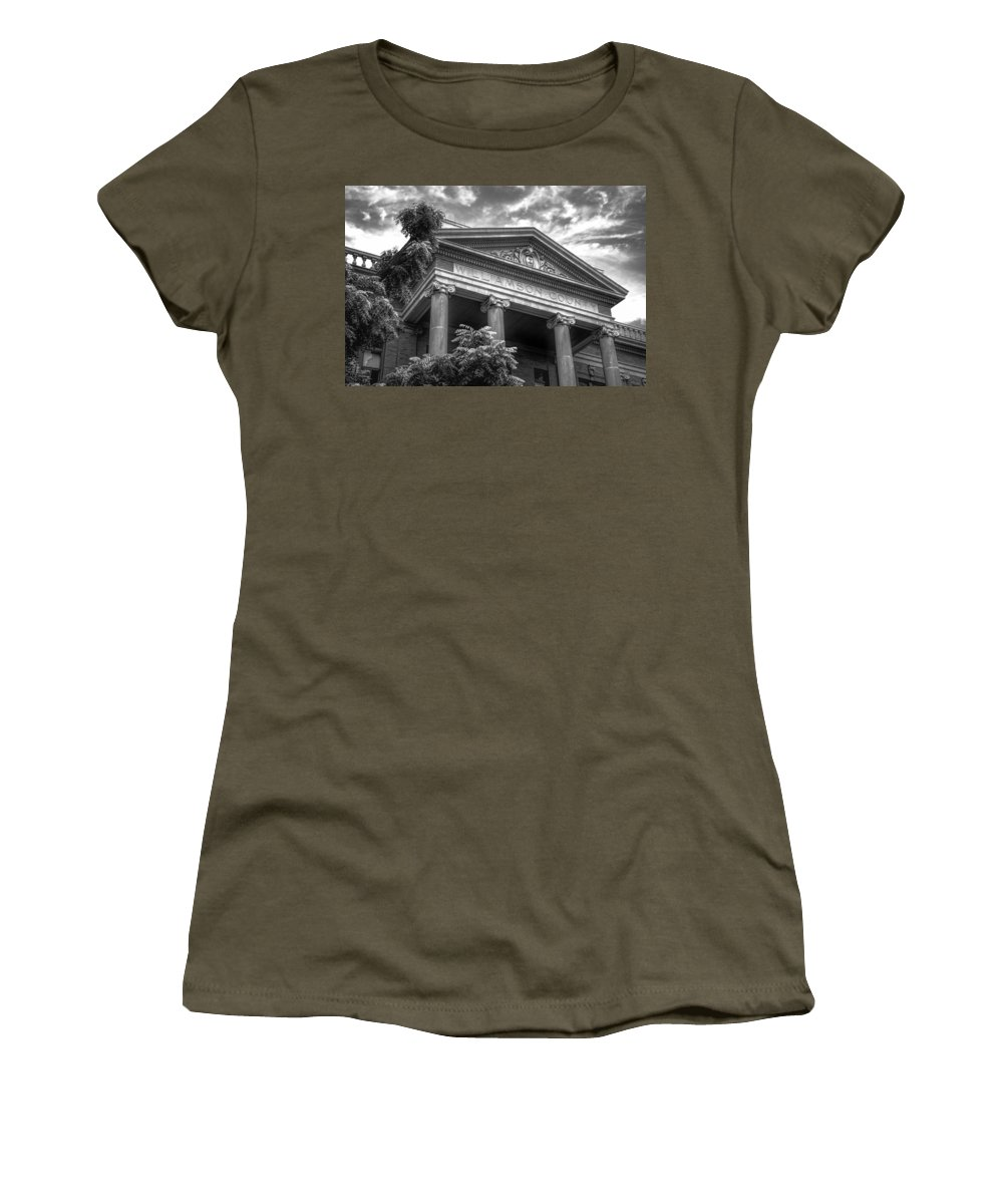 Joan Carroll Women's T-Shirt featuring the photograph Williamson County Courthouse Bw by Joan Carroll