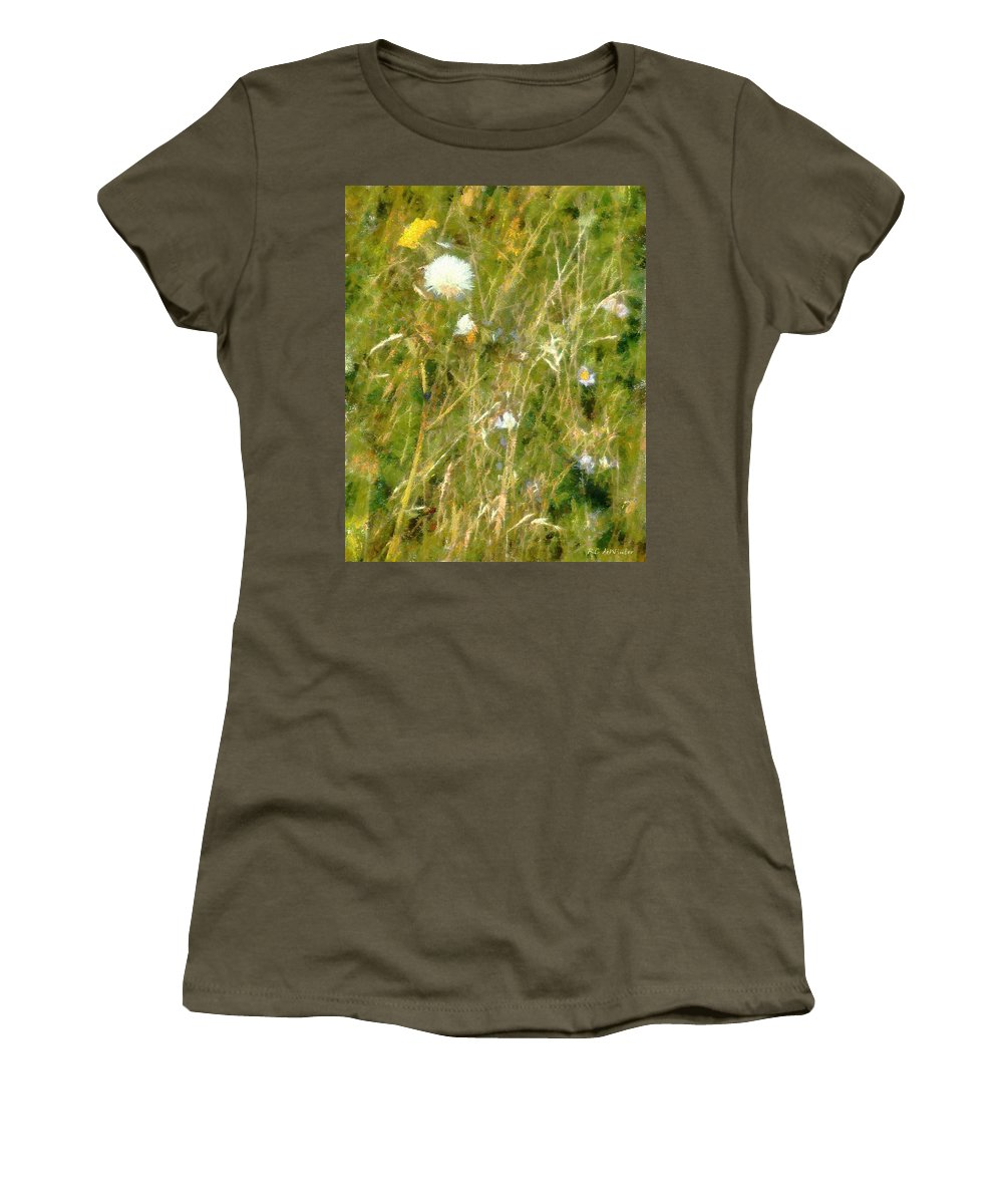 Bluets Women's T-Shirt featuring the painting Wind Through The Meadow by RC DeWinter