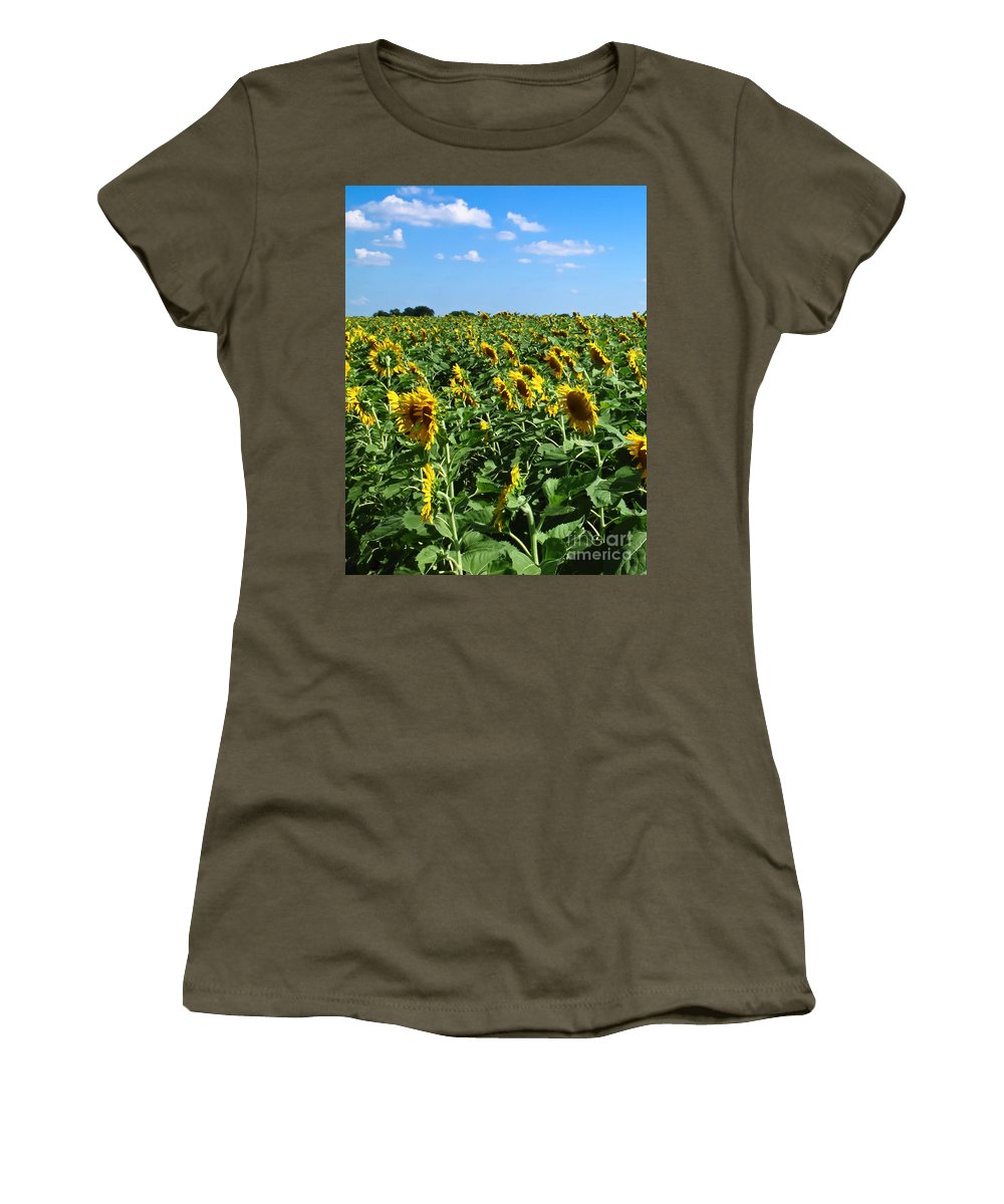 Sunflower Women's T-Shirt featuring the photograph Windblown Sunflowers by Robert Frederick