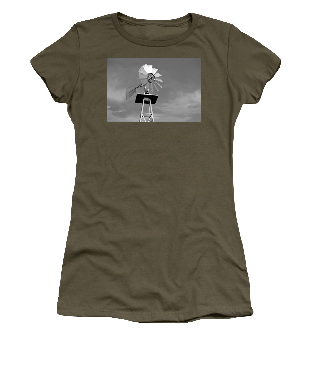 Windmill Women's T-Shirt featuring the photograph Windmill And Passing Plane by Tara Potts