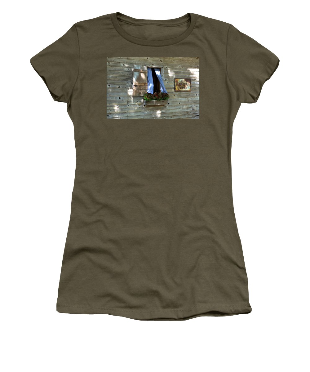 2631 Women's T-Shirt featuring the photograph Window And Flowerbox by Gordon Elwell