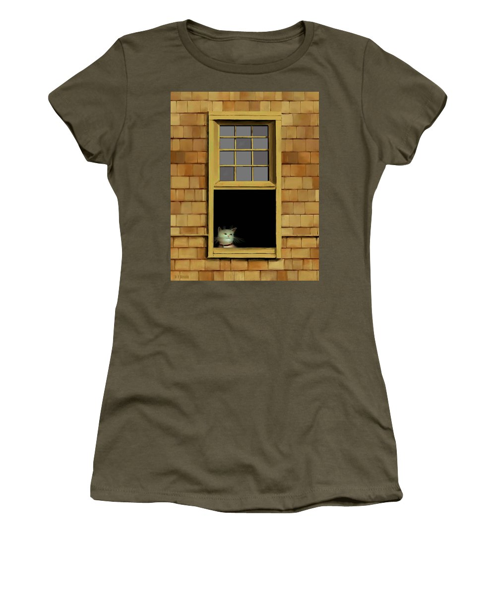 Diane Strain Women's T-Shirt featuring the painting Window Cat  No.3 by Diane Strain