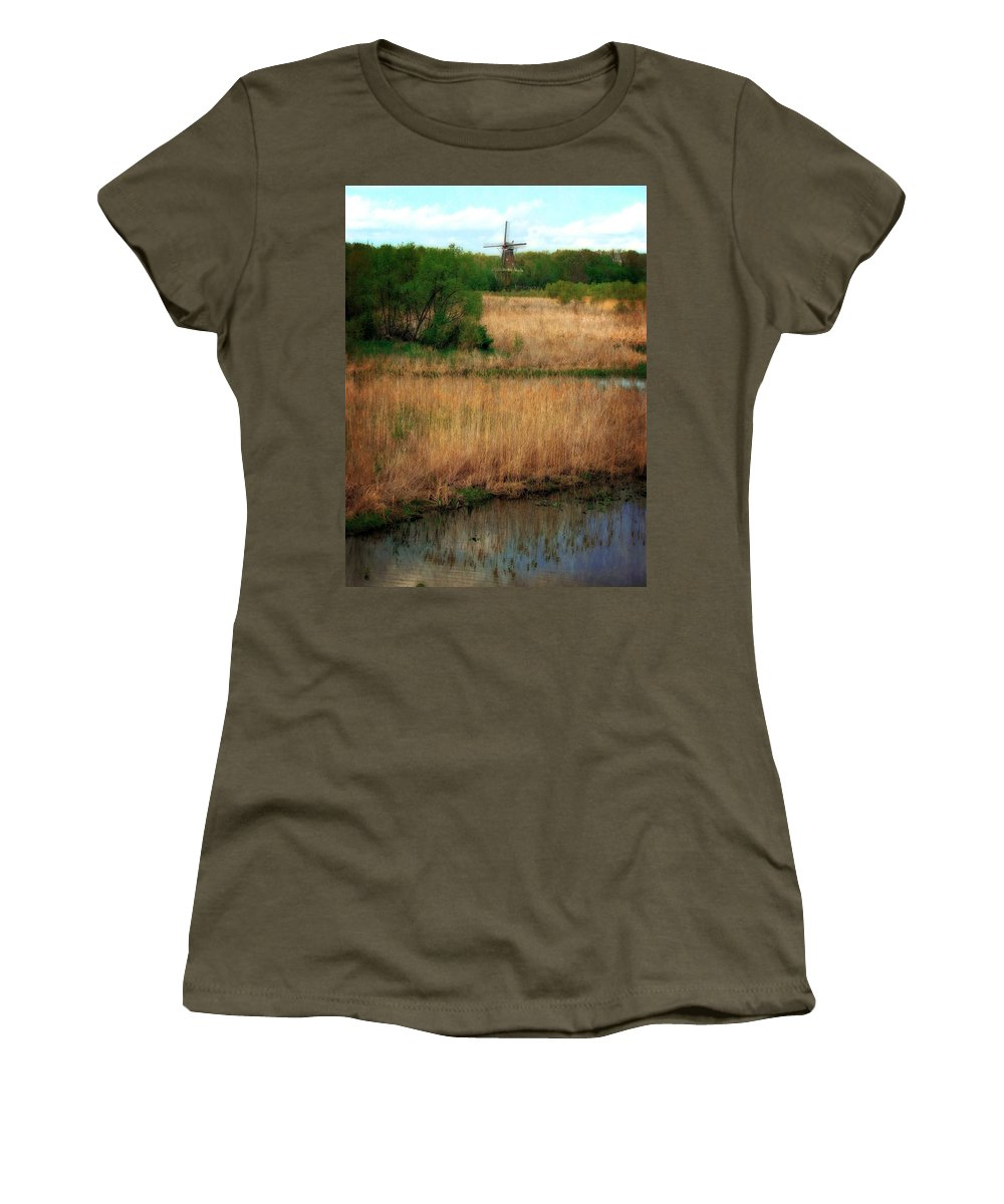 Windmill Island Women's T-Shirt (Athletic Fit) featuring the photograph Window On The Waterfront Dezwaan Windmill by Michelle Calkins