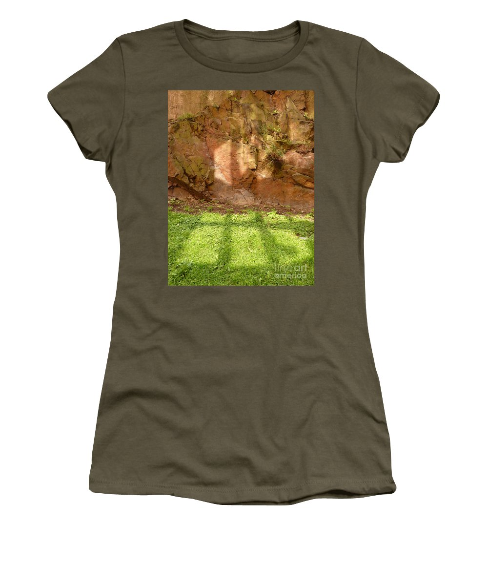 Reflections Women's T-Shirt featuring the photograph Window Reflections On Grass And Rock Face by Kerstin Ivarsson