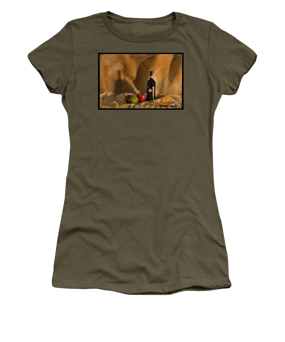Feature Art Women's T-Shirt featuring the photograph Wine Apples And Cheese by Paulette B Wright