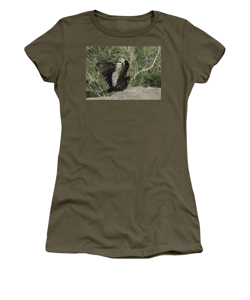 Vulture Women's T-Shirt featuring the photograph Wings Up by Lorraine Harrington