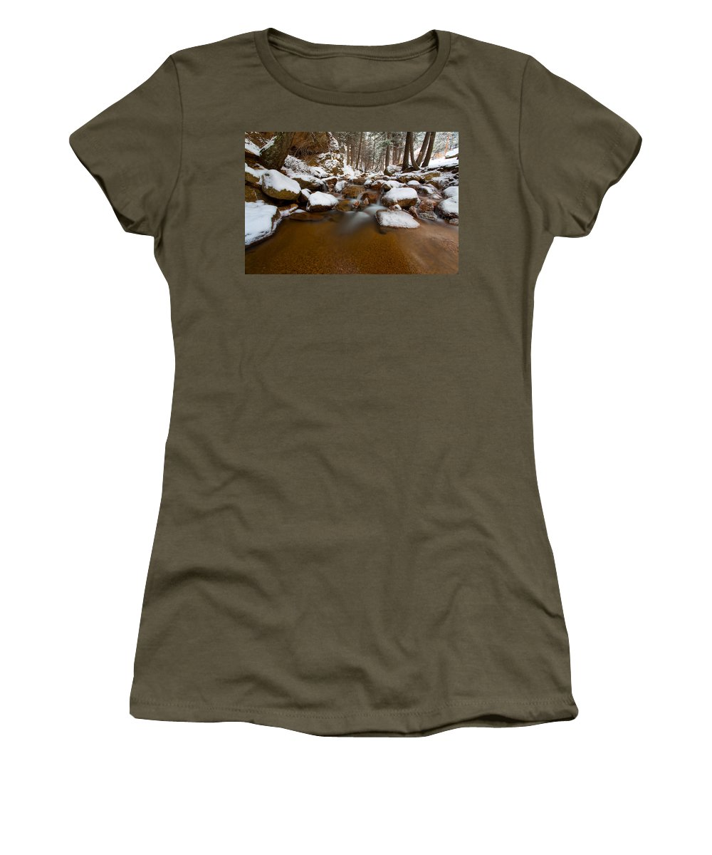Winter Stream Women's T-Shirt (Athletic Fit) featuring the photograph Winter Blast by Craig Forhan
