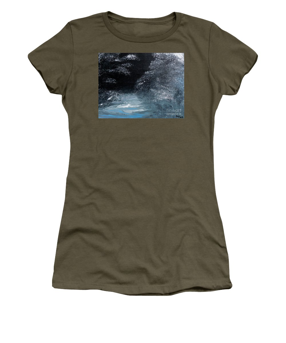 Silent Night Women's T-Shirt featuring the painting Winter Sparklers by Alys Caviness-Gober