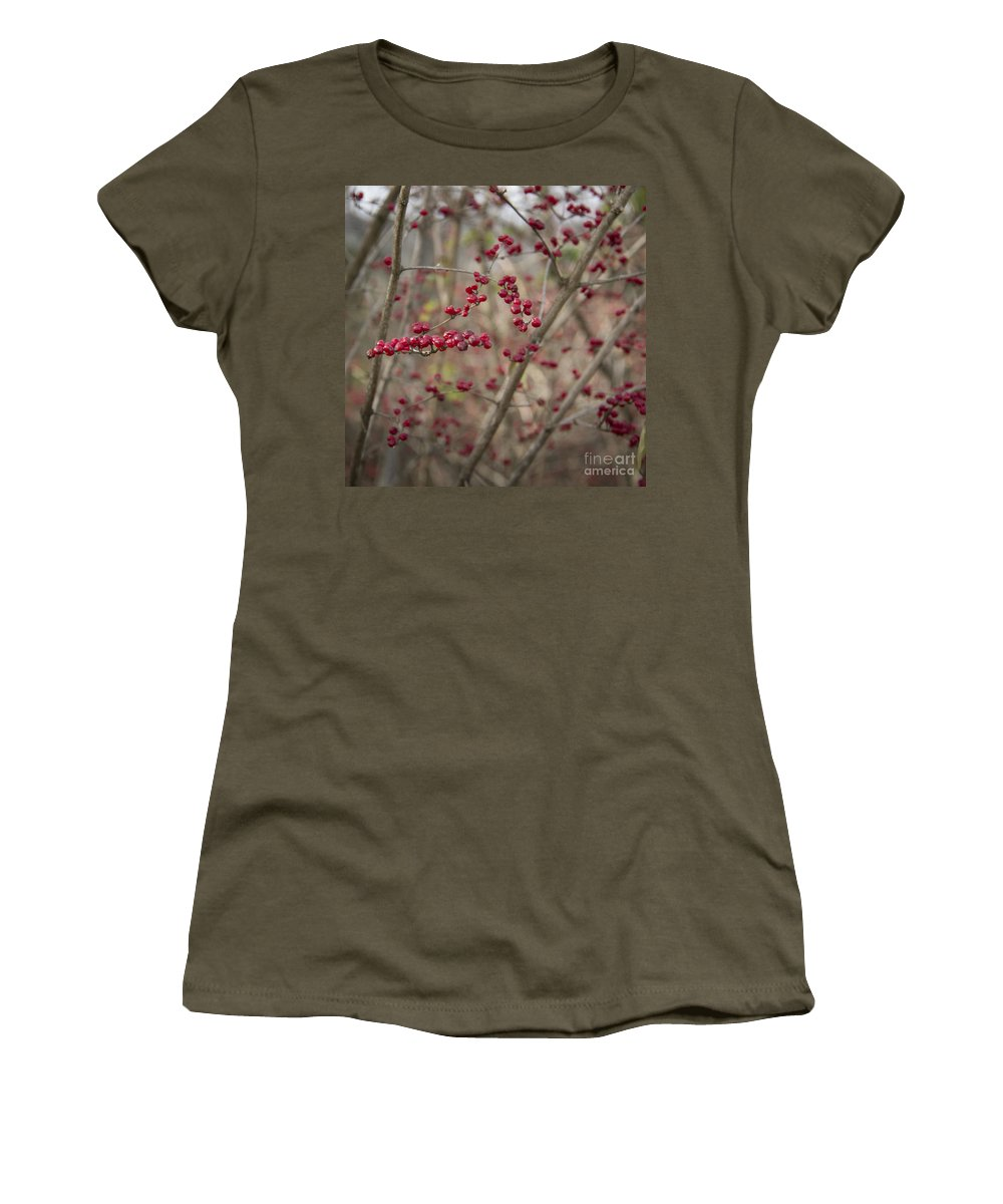 Winterberry Women's T-Shirt featuring the photograph Winterberries Squared by Teresa Mucha