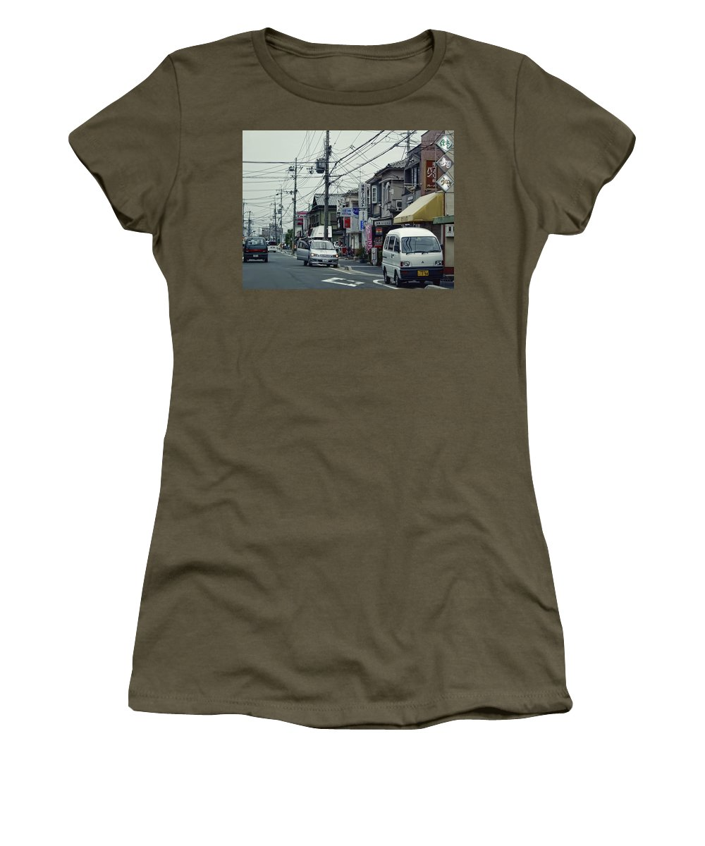 Wired Women's T-Shirt featuring the photograph Wired Neighborhood - Kyoto Japan by Daniel Hagerman