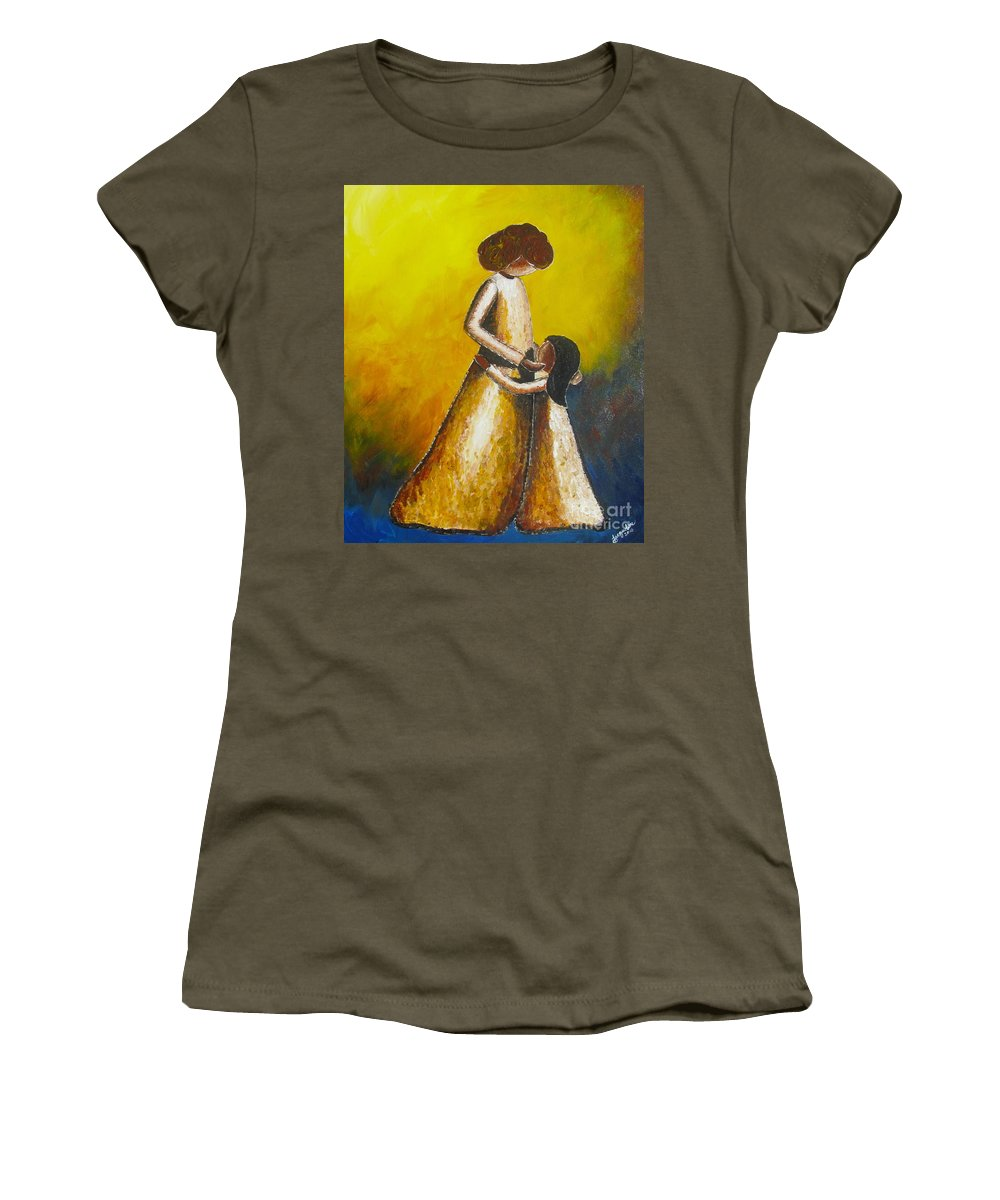 With Her Women's T-Shirt featuring the painting With Her by Jacqueline Athmann