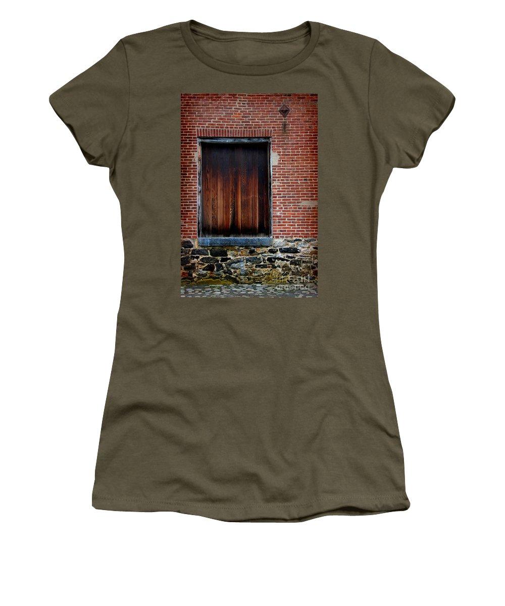 Antique Women's T-Shirt featuring the photograph Wood Window Brick Wall by Karen Adams