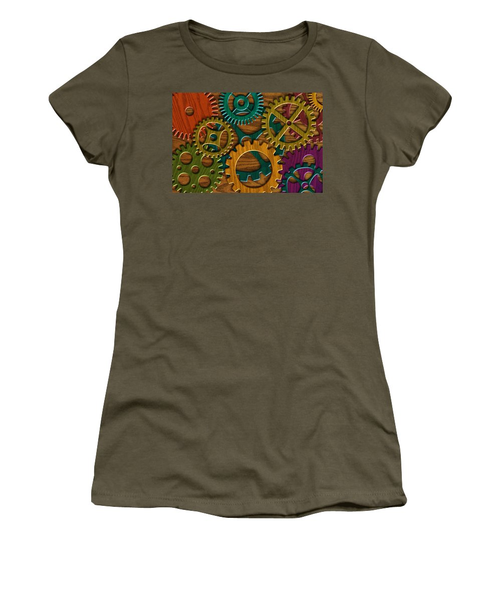 Wood Grain Women's T-Shirt featuring the photograph Wooden Gears On Wood Grain Texture Background by Jit Lim