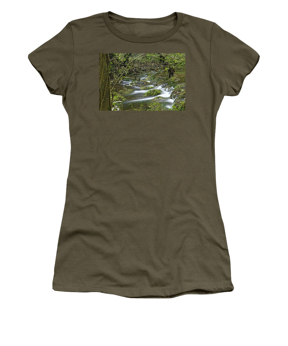 Derbyshire Women's T-Shirt featuring the photograph Woodland Stream - Monk's Dale by Rod Johnson