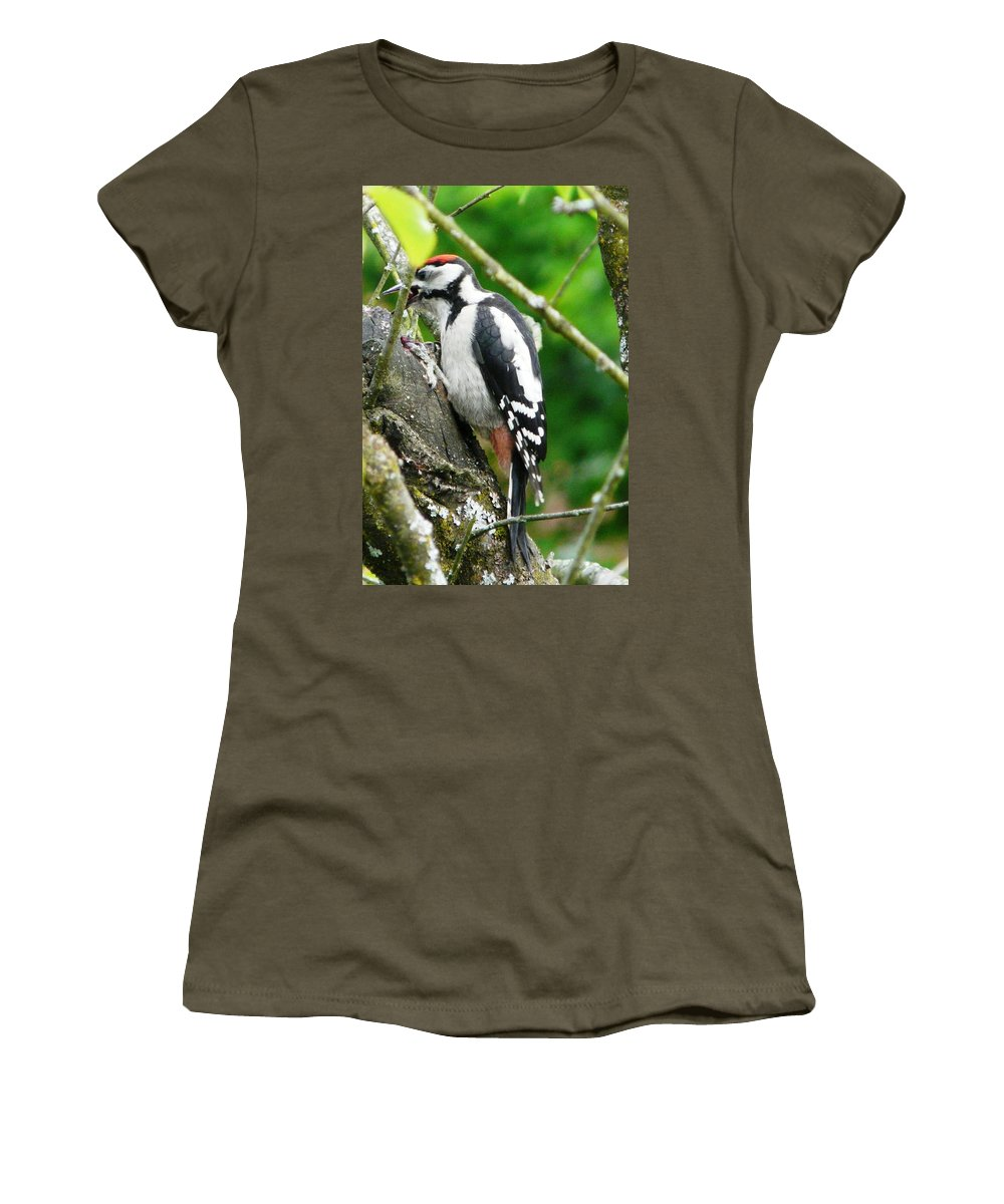Bird Women's T-Shirt (Athletic Fit) featuring the photograph Woodpecker Swallowing A Cherry by Valerie Ornstein