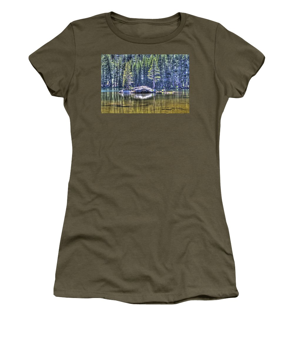 Woods Lake Women's T-Shirt (Athletic Fit) featuring the photograph Woods Lake 1 by SC Heffner