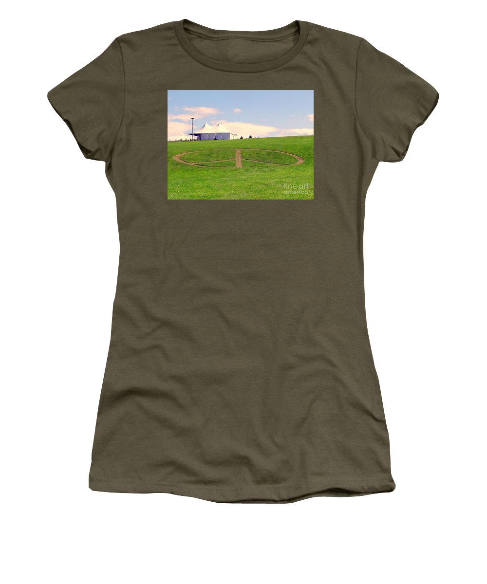 Peace Sign Women's T-Shirt featuring the photograph Woodstock Hill Of Peace by Ed Weidman