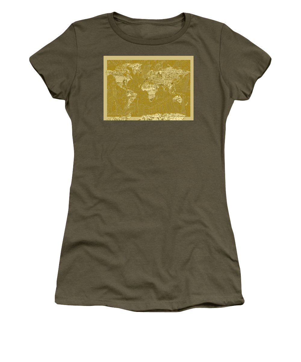 Map Of The World Women's T-Shirt featuring the painting World Map Landmark Collage 10 by Bekim Art