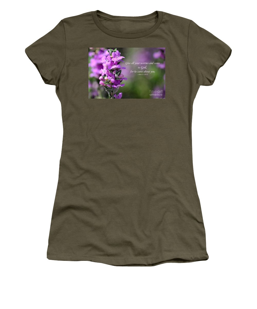 Purple Sage Women's T-Shirt featuring the photograph Worry Free by Deb Halloran