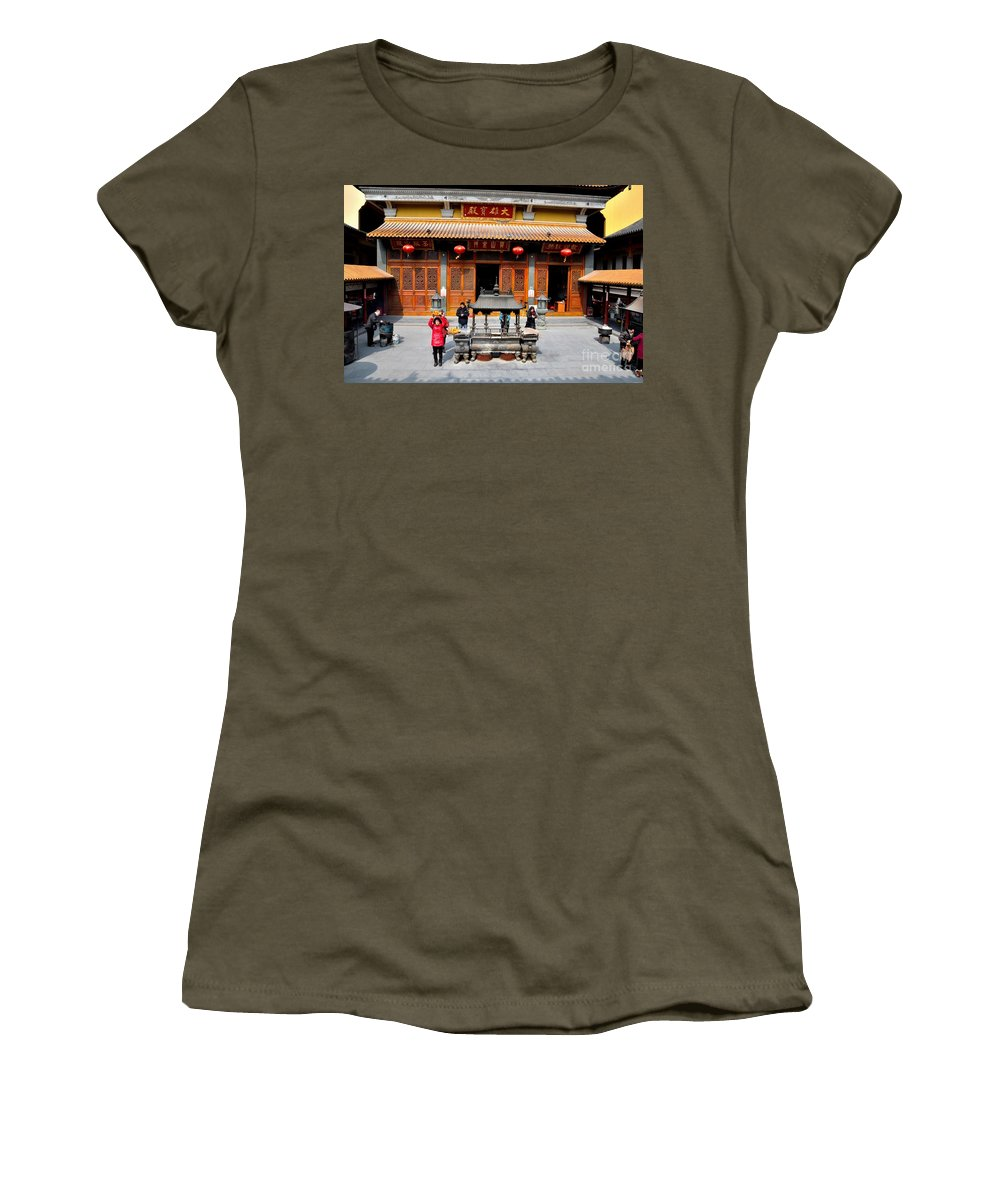 Temple Women's T-Shirt featuring the photograph Worshipers In Urn Courtyard Of Chinese Temple Shanghai China by Imran Ahmed