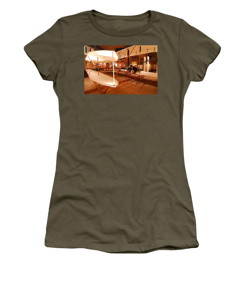 Aeroplane Women's T-Shirt featuring the photograph Wright Brothers Memorial by Alex Grichenko