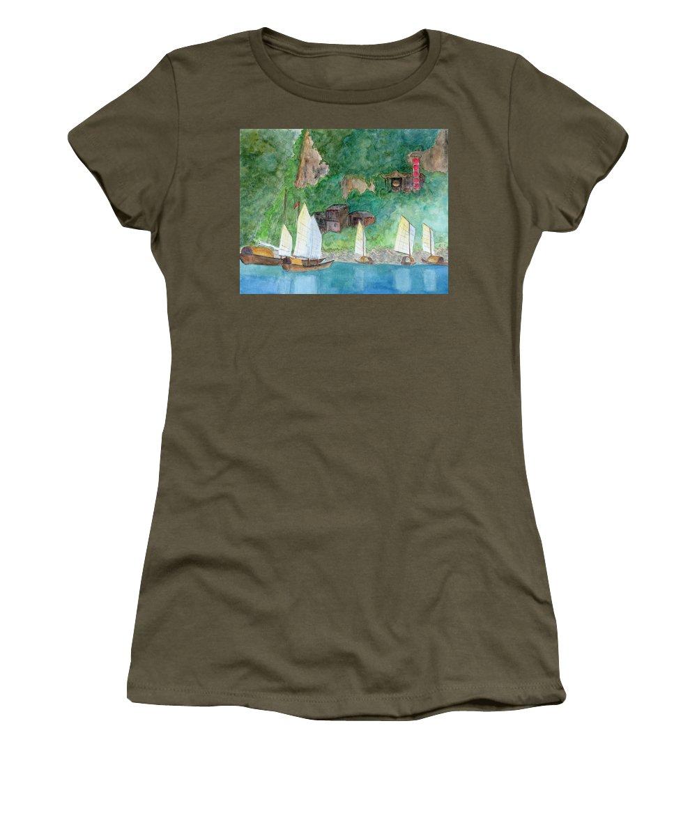 Yangtze River Women's T-Shirt featuring the painting Yangtze Boats by Patricia Beebe