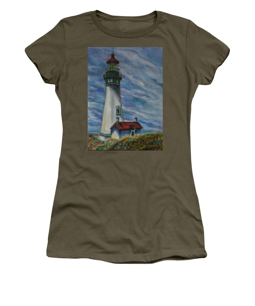 Quin Sweetman Women's T-Shirt featuring the painting Yaquina Head Lighthouse Original Painting by Quin Sweetman