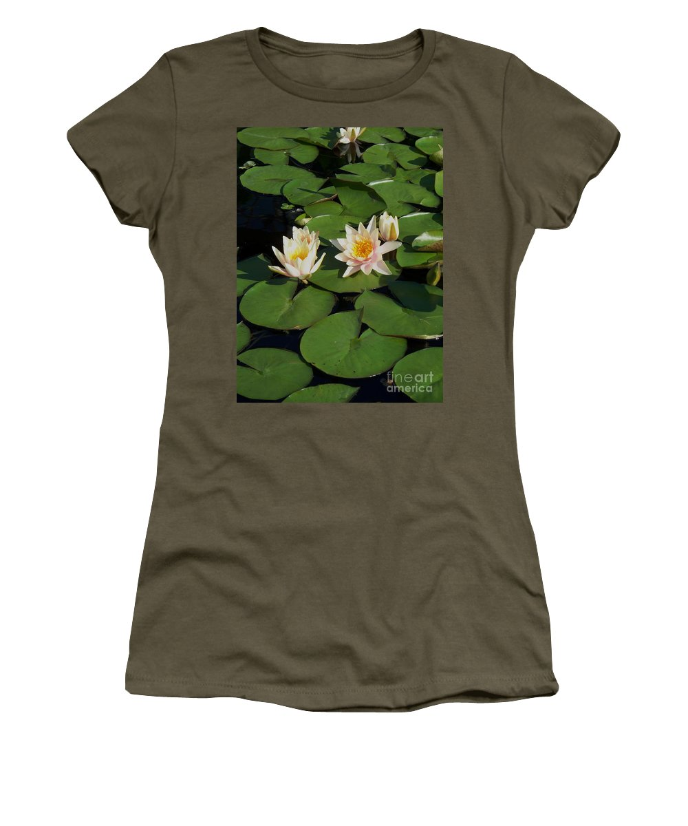 Water Lilies Women's T-Shirt (Athletic Fit) featuring the photograph Yellow And Pink Lily by Eric Schiabor
