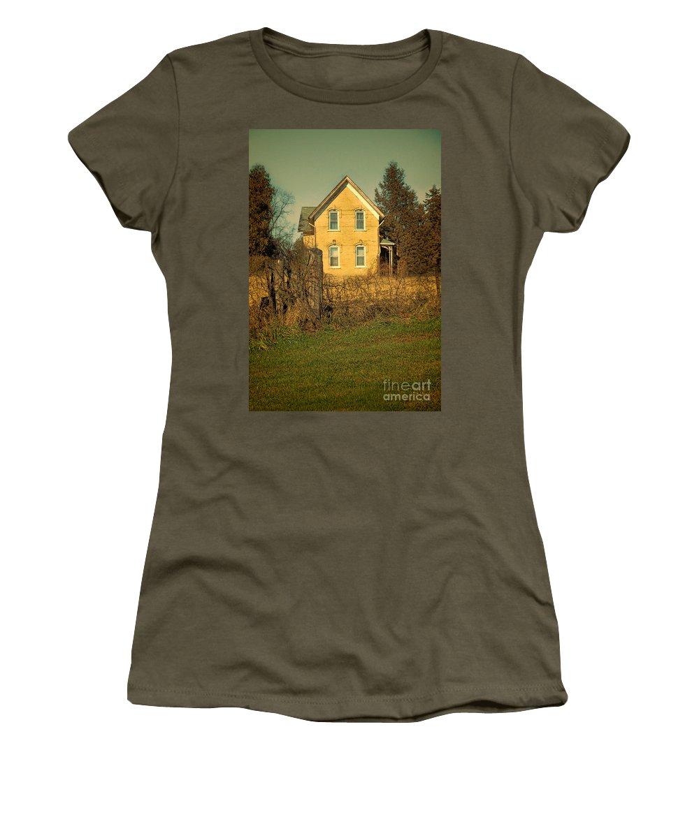 House Women's T-Shirt featuring the photograph Yellow Brick Farmhouse by Jill Battaglia