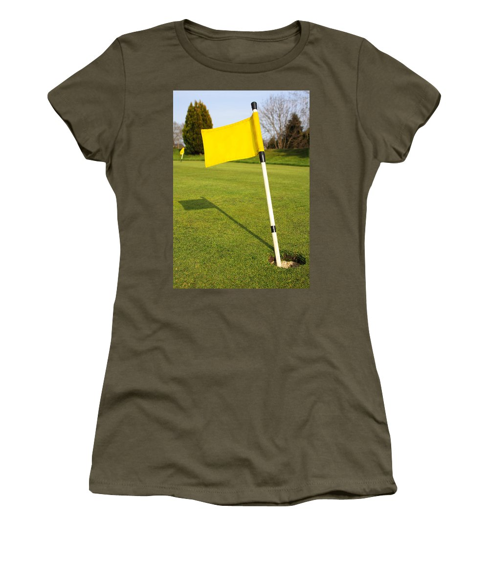 Banner Women's T-Shirt featuring the photograph Yellow Flag On The Green by Semmick Photo