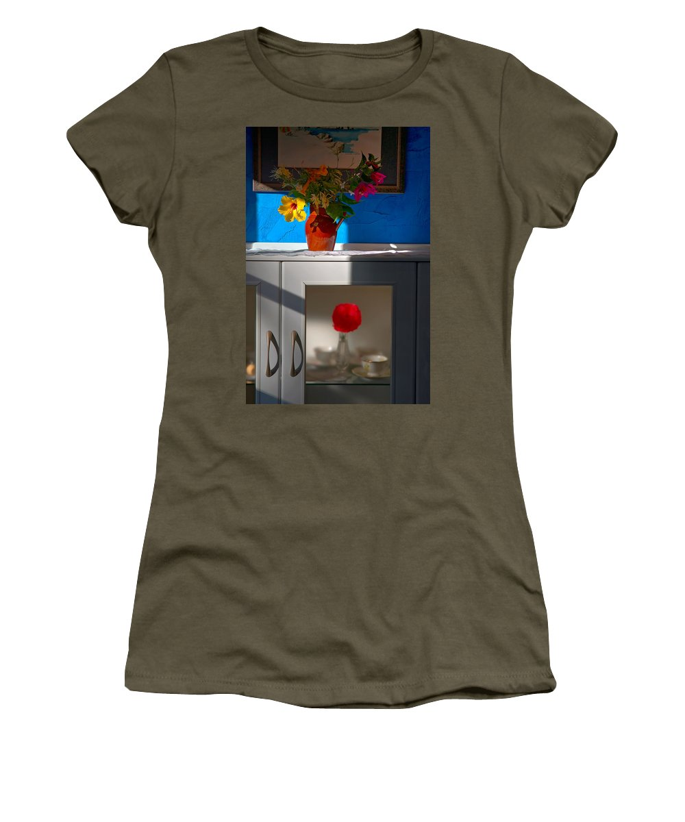 Yellow Flower Women's T-Shirt featuring the photograph Yellow Flower In A Vase Of Clay. by Juan Carlos Ferro Duque
