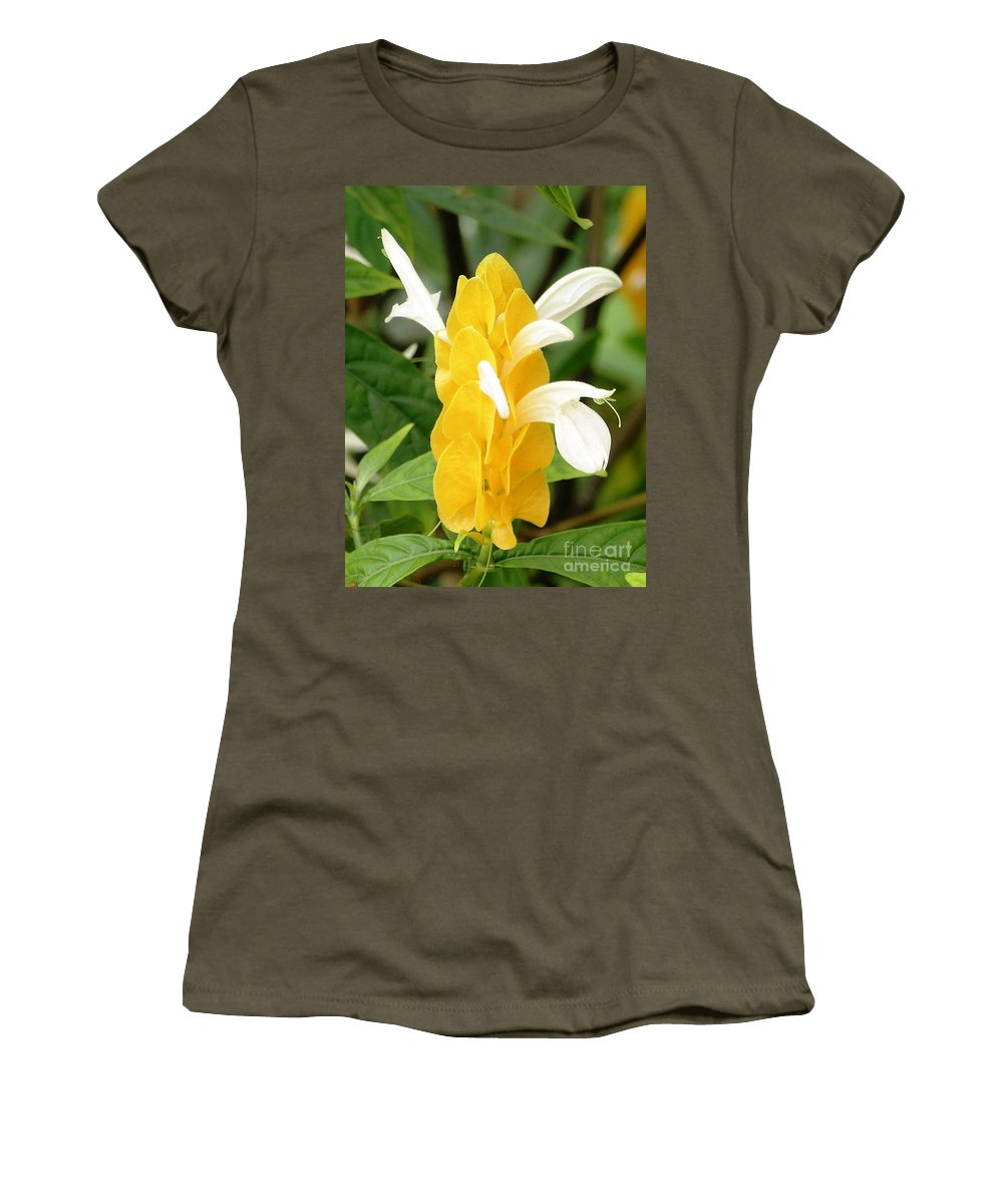 Mary Deal Women's T-Shirt (Athletic Fit) featuring the photograph Yellow Ginger Blossom by Mary Deal