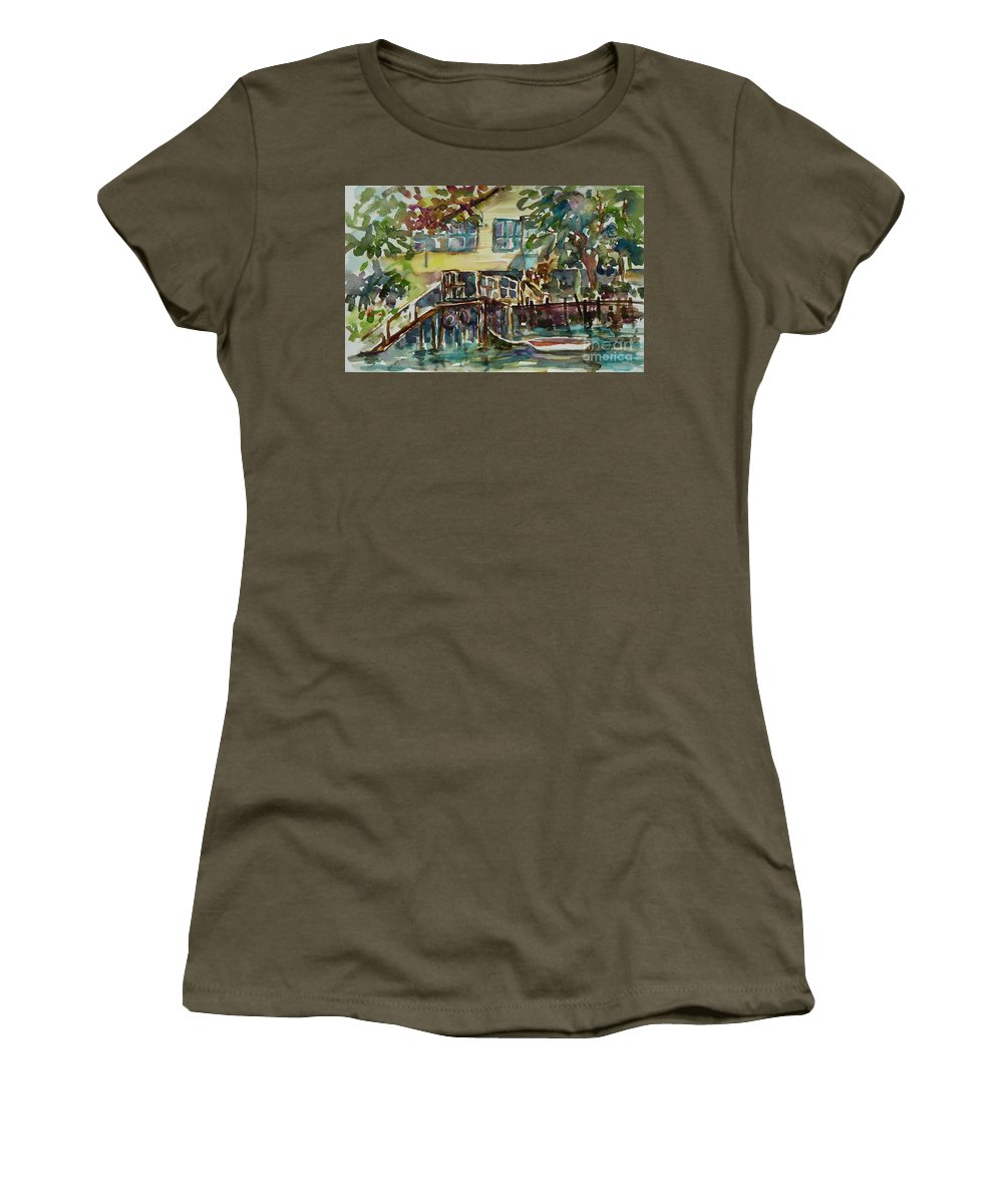 Idyllic Women's T-Shirt (Athletic Fit) featuring the painting Yellow House By The River by Xueling Zou