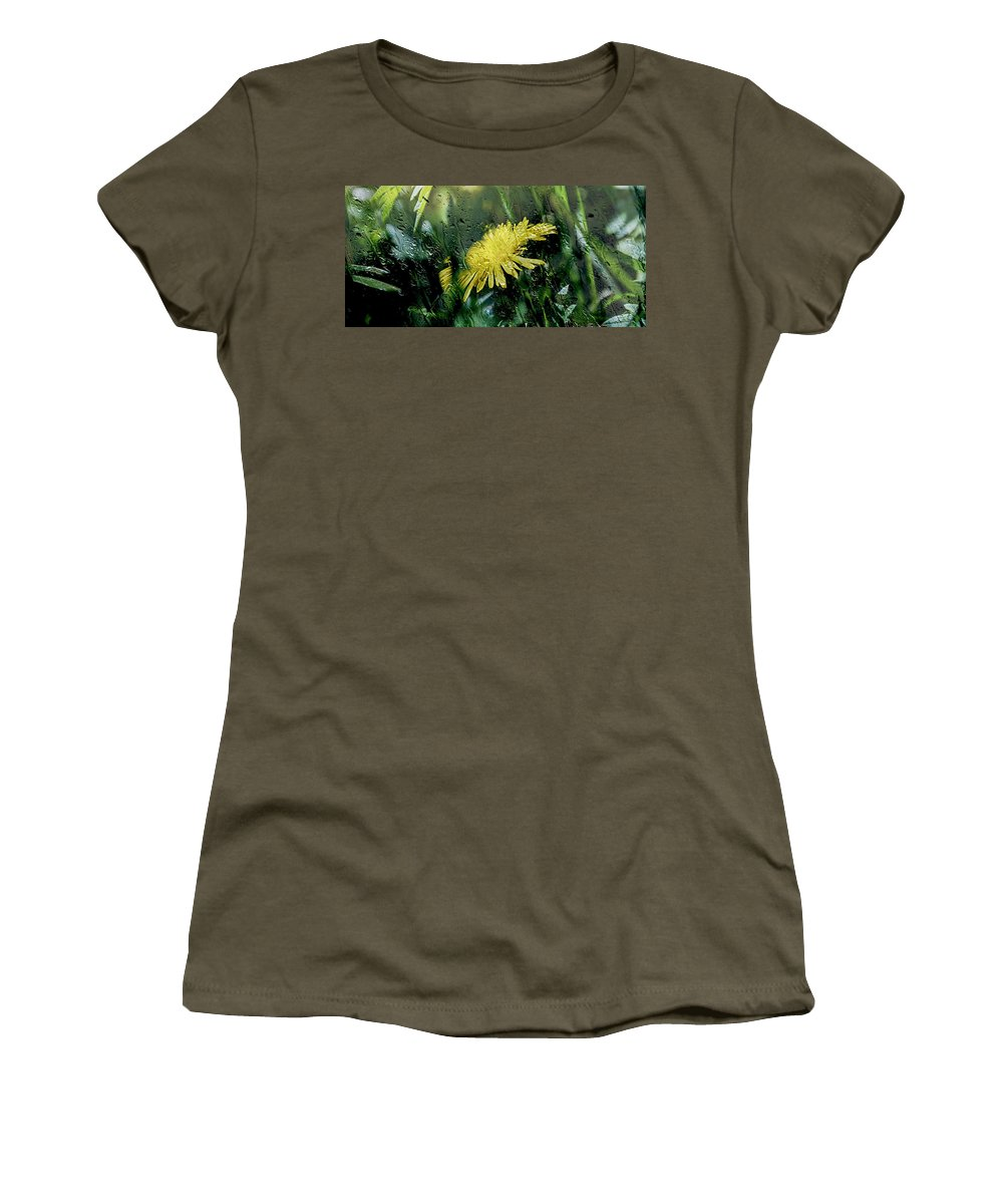 Dandelion Women's T-Shirt featuring the photograph Yellow In The Rain by Sherman Perry