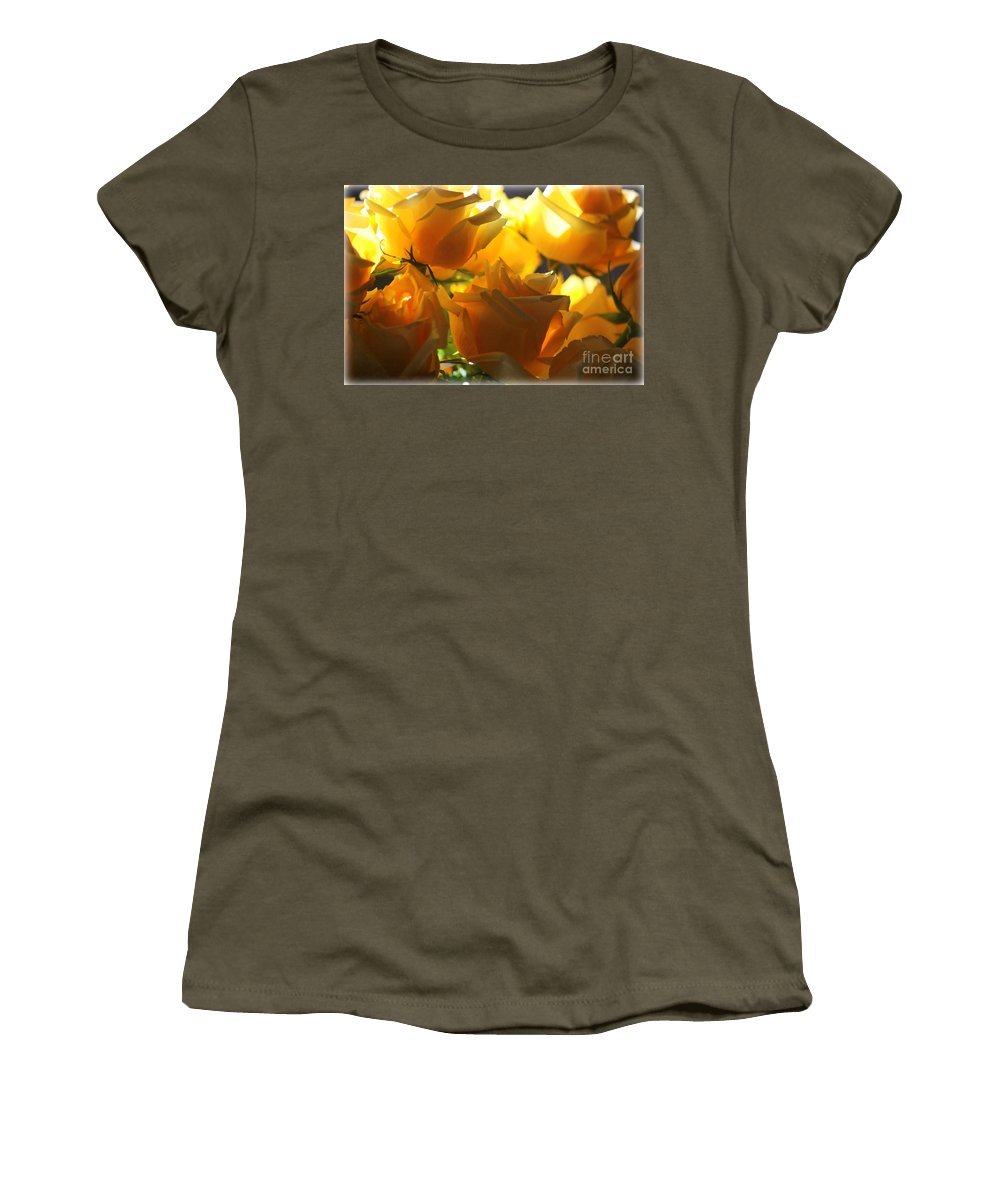 Yellow Roses Women's T-Shirt featuring the photograph Yellow Roses And Light by Carol Groenen