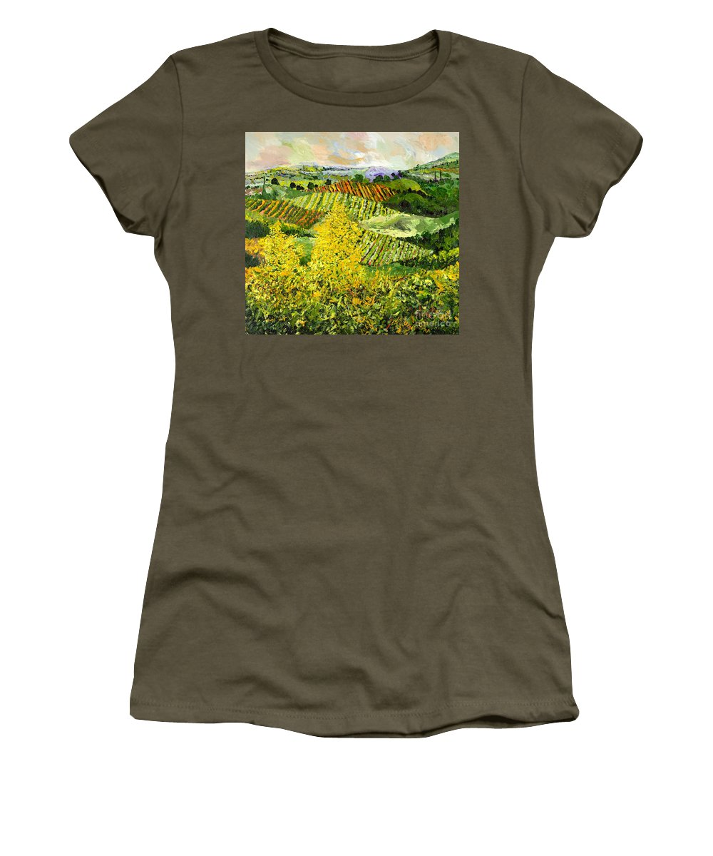 Landscape Women's T-Shirt (Athletic Fit) featuring the painting Yellow Trees by Allan P Friedlander