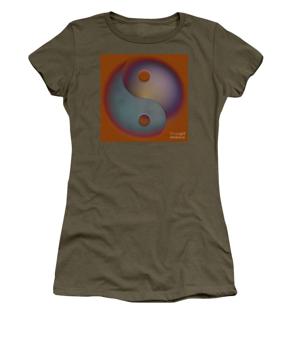 Ying Yang Women's T-Shirt featuring the digital art Yin And Yang by Liane Wright