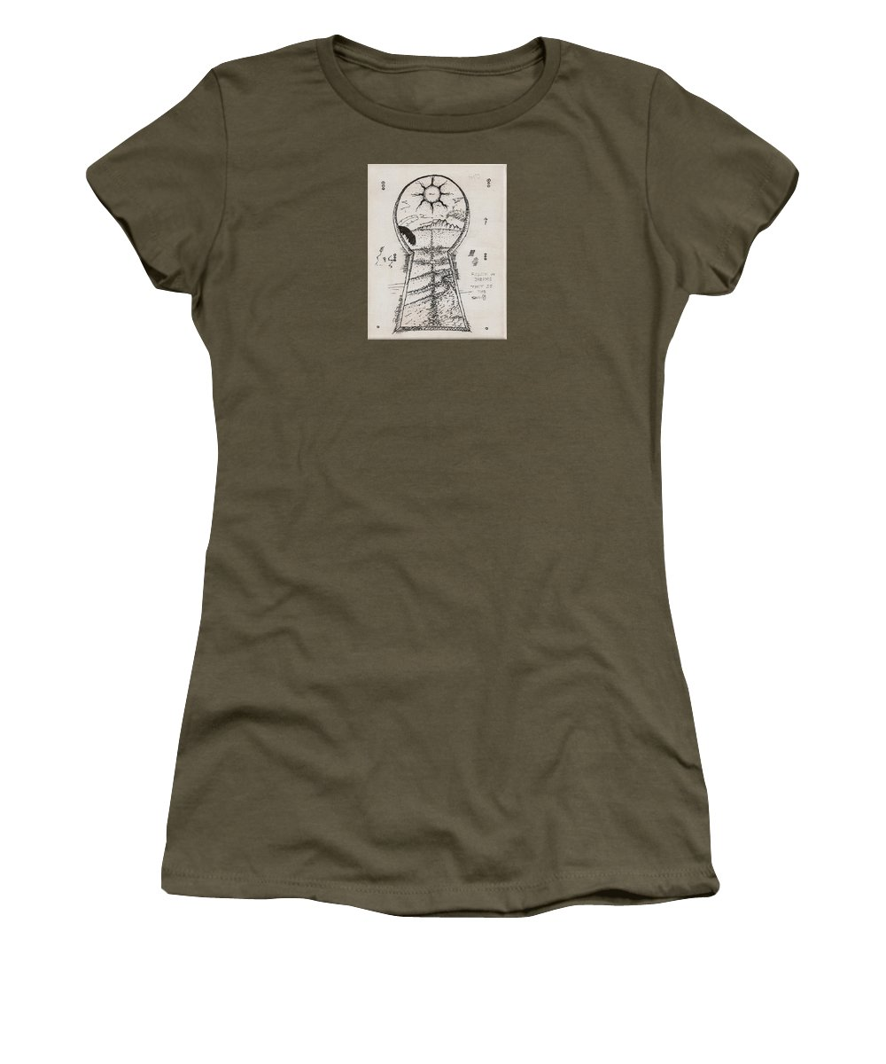 Keyholedrawing Women's T-Shirt featuring the drawing You Hold The Key by Paul Carter
