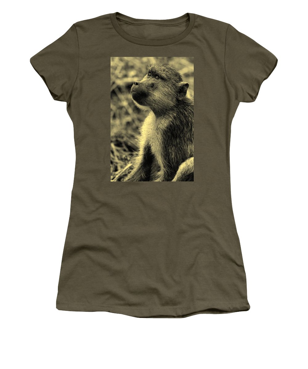 Baboon Women's T-Shirt featuring the photograph Young Baboon In Black And White by Amanda Stadther